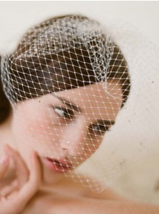 One-tier Tulle Blusher Veils With Rhinestones