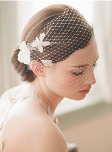One-tier Blusher Veils with Artificial Flowers