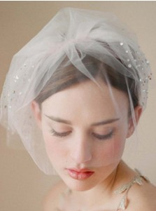 Two-tier Blusher Veils with Beading