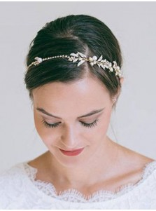 Ladies Simple Imitation Pearls Rhinestone Crystal Headbands