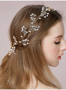 Ladies Headband with Crystal and Imitation Pearls