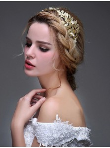 Beautiful Leaf Shape Alloy Tiaras with Imitation Pearls