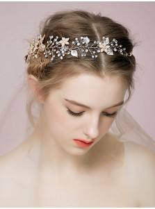 Imitation Pearls Ladies Headband with Crystal and Artificial Flowers