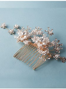 Glamorous Alloy Combs & Barrettes With Imitation Pearls and Crystal