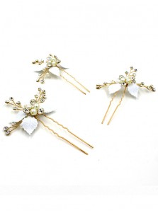Ladies Crystal Imitation Pearls Hairpins (Set of 2)