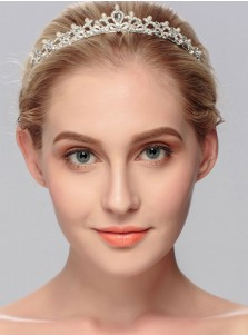 Ladies Gorgeous Alloy Tiara With Crystal Rhinestone Imitation Pearls