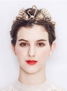 Unique Ladies Crystal Alloy Tiara With Imitation Pearls