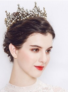 Baroque Stylish Alloy Crown With Crystal Imitation Pearls