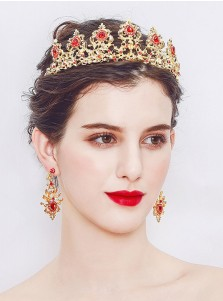 Ladies Amazing Gold Alloy Tiara and Earrings
