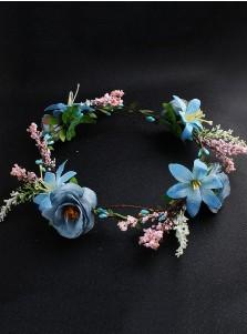 Boho Style Flower Girl's Head-wear Purple Artificial Flowers & Feathers