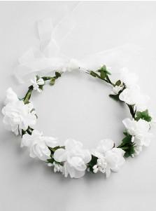 Artificial Flowers Crown White Flower Girl's Head-wear for Beach Wedding