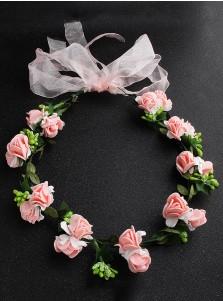 Lovely Pink Flower Girl's Head-wear Artificial Flowers Crown