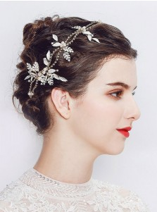 Gold Alloy Bridal Headpieces with Crystal and Imitation Pearls