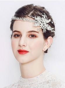 Pretty Silver Bridal Headpieces with Imitation Pearls