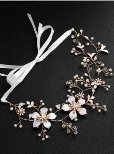 Gold Alloy Bridal Headpieces with Imitation Pearls