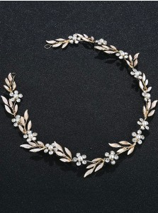 Simple Gold Bridal Headpieces with Crystal and Pearls