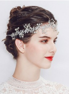 Silver Wedding Accessory with Crystal and Imitation Pearls