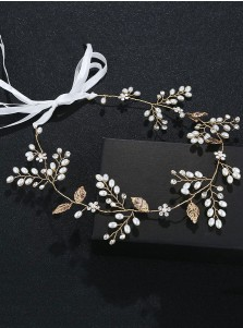 Gold Bridal Headpieces with Crystal and Imitation Pearls