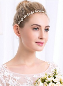 Gold Bridal Headbands Simple Wedding Accessory with Crystal