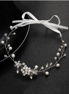 Silver Bridal Headpieces with Crystal and Imitation Pearls
