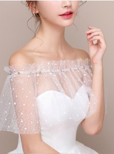 Off-the-Shoulder White Lace Wedding Wraps with Crystal