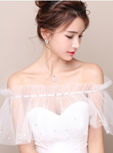 White Tulle Off-the-Shoulder Wedding Wraps with Crystal
