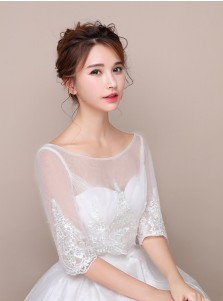 Bateau Half Sleeves White Tulle Wedding Wraps with Appliques