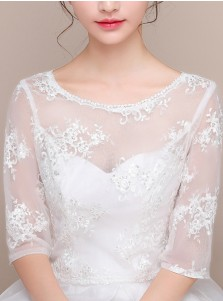 Half Sleeves Round Neck White Wedding Wraps