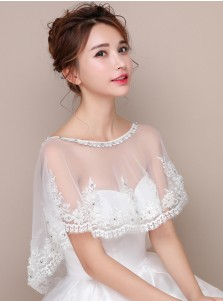Bateau White Tulle Wedding Wraps with Appliques Crystal