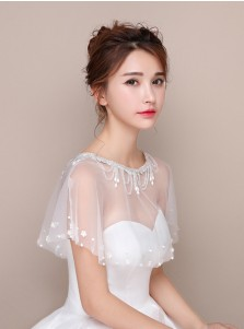 Bateau White Tulle Wedding Wraps with Beading