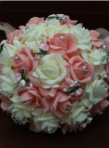 Round Pink Bridal Bouquets/Bridesmaid Bouquets with Crystal