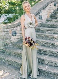 A-Line V-Neck Sleeveless Long Bridesmaid Dress With Belt
