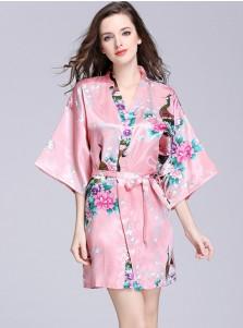 Bridesmaid Floral Long Sleeves Pink Polyester Kimono Robes