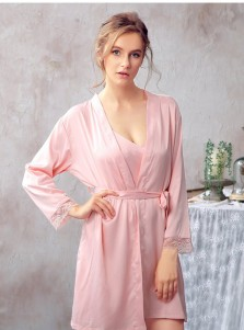 Bridesmaid Long Sleeves Pink Polyester Robes with Lace