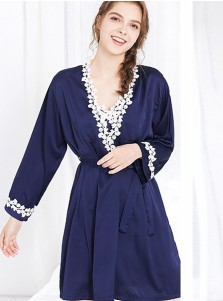 Bride Bridesmaid Blue Polyester Robes with Lace Long Sleeves