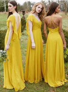 A-Line V-Neck Yellow Chiffon Bridesmaid Dress with Ruffles