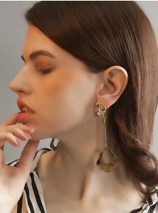 Elegant Long Alloy/Acrylic Earring