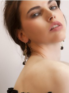 Long Zinc Alloy Earring with Wood Resin