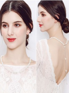 Backdrop Necklace with Imitation Pearls Wedding Jewelry