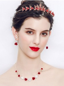 Unique Alloy Wedding Accessory Red Women's Jewelry Sets (Set of 3)