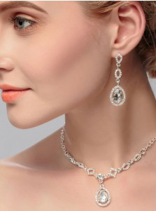 Silver Alloy Necklace and Earring Jewelry Sets with Crystal (Set of 2)