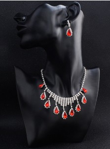 Wedding Accessory Earring and Necklace Women's Jewelry Sets with Crystal and Ruby