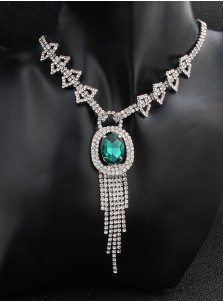 Luxury Wedding Accessory Women's Jewelry Sets with Crystal and Emerald