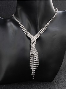 Stylish Silver Wedding Accessory Women's Jewelry Sets with Crystal (Set of 2)