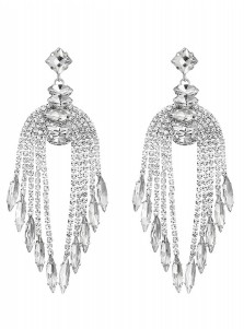 Silver Tassels Chain Bridal Earrings with Crystal