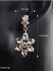 Flower Shape Beautiful Crystal Drop Bridal Earrings