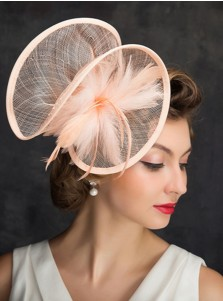 Ladies' Classic Cambric Fascinators With Feather