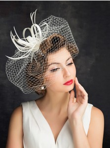 White Cambric Ladies' Vintage Fascinators With Feathers