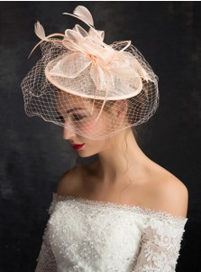 Ladies' Vintage Pink Cambric Fascinators With Feathers