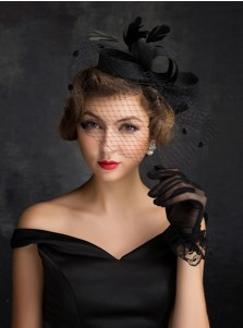 Vintage Black Cambric Ladies' Fascinators With Feathers